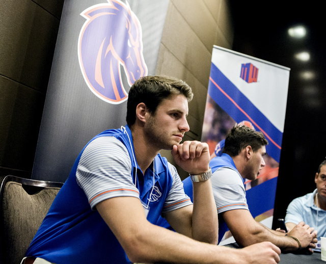 Boise State Broncos wide receiver Thomas Sperbeck, left, and linebacker Ben Weaver discusses the upcoming season during the Mountain West Football Media Day Tuesday, July 26, 2016, at Cosmopolitan ...