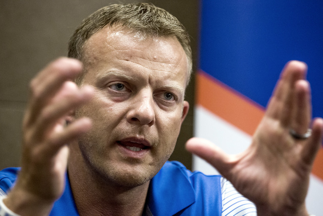 Boise State coach Bryan Harsin discusses the upcoming season during the Mountain West Football Media Day Tuesday, July 26, 2016, at Cosmopolitan of Las Vegas. (Jeff Scheid/Las Vegas Review-Journal ...