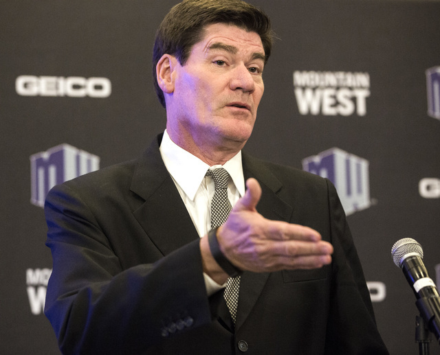 Mountain West commissioner Craig Thompson speaks during the Mountain West Football Media Day Tuesday, July 26, 2016, at Cosmopolitan of Las Vegas. Jeff Scheid/Las Vegas Review-Journal Follow @jeff ...
