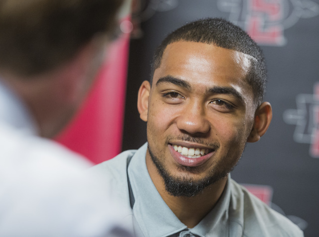 San Diego State running back Donnel Pumphrey, a Canyon Springs High School product, discusses the upcoming season Wednesday, July 27, 2016, during the Mountain West Football Media Day at Cosmopoli ...
