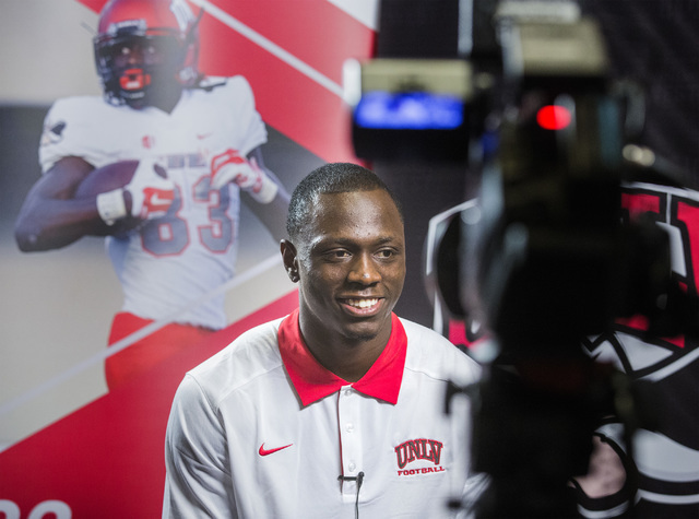 UNLV football wide receiver Devonte Boyd smiles while being interviewed Wednesday, July 27, 2016, during the Mountain West Football Media Day at Cosmopolitan of Las Vegas. (Jeff Scheid/Las Vegas R ...