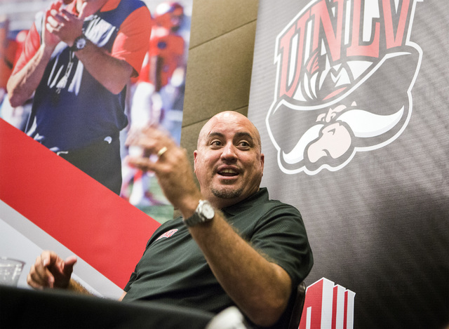 UNLV football coach Tony Sanchez discusses the upcoming season Wednesday, July 27, 2016, during the Mountain West Football Media Day at Cosmopolitan of Las Vegas. Jeff Scheid/Las Vegas Review-Jour ...