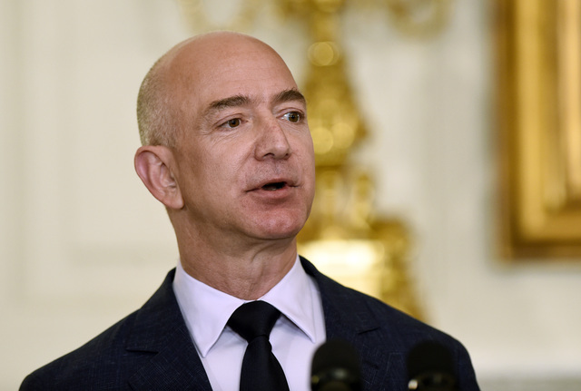 Jeff Bezos, the founder and CEO of Amazon.com, speaks in the State Dining Room of the White House in Washington in May 2016. (Susan Walsh/The Associated Press)