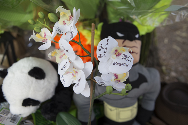 Items placed by community members are shown during a candlelight vigil for the victims of a murder-suicide on Friday, July 1, 2016 in Las Vegas. Loren Townsley/ Las Vegas Review-Journal Follow @Lo ...