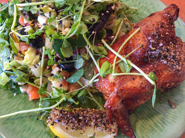 A roasted spring chicken salad (avocado, almonds, sesame vinegar and seasonal vegetables and fruits) is served at Flock & Fowl, 380 W. Sahara Ave. Fernando Lopez/Special to View