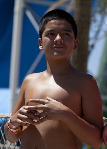Claudio, 12, waits in line at the Cowabunga Bay Water Park in Henderson on Wednesday, June 13, 2016. Loren Townsley/Las Vegas Review-Journal Follow @lorentownsley