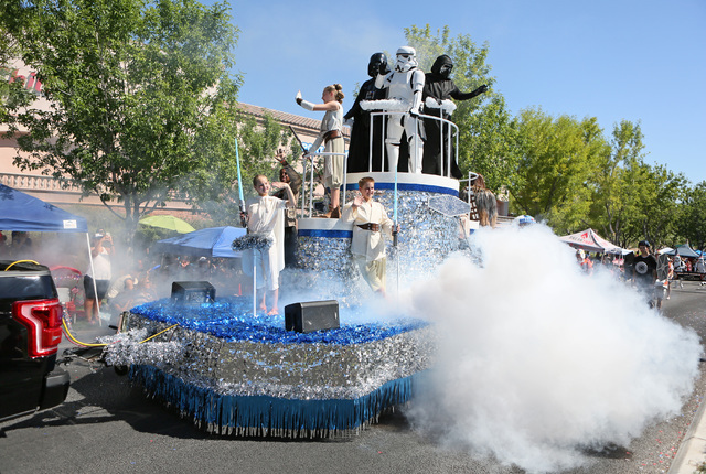 A Star Wars-themed float presented by the Neon City Garrison chapter of the 501st Legion is shown during the 22nd Annual Summerlin Council Patriotic Parade Monday, July 4, 2016, in Las Vegas. (Ron ...