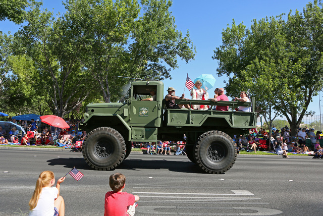 A truck with the Southern Nevada Military Vehicle Association is shown during the 22nd Annual Summerlin Council Patriotic Parade Monday, July 4, 2016, in Las Vegas. (Ronda Churchill/Las Vegas Revi ...