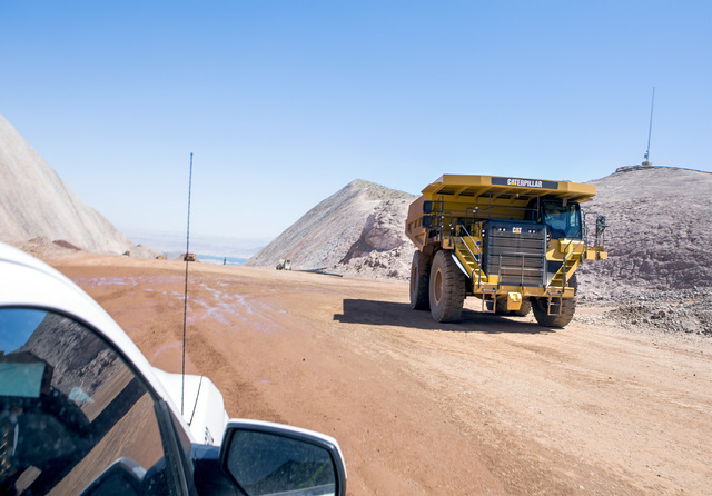 A truck travels on the I-11 Boulder City Bypass construction project on Monday, July 18, 2016. The 12.5 miles of of highway is scheduled to open in late 2018. Jeff Scheid/Las Vegas Review-Journal  ...