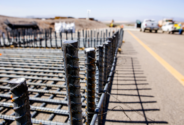 Rebar for a I-11 Boulder City Bypass overpass under construction at U.S. 95 is seen on Monday, July 18, 2016. The 12.5 miles of of highway is scheduled to open in late 2018. Jeff Scheid/Las Vegas  ...