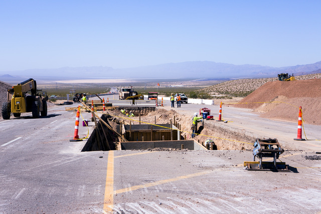 The I-11 Boulder City Bypass overpass under construction at U.S. 95 is seen on Monday, July 18, 2016. The 12.5 miles of of highway is scheduled to open in late 2018. Jeff Scheid/Las Vegas Review-J ...