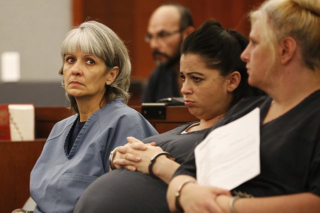 Jerry Nann Meador, left, appears in court Wednesday, June 29, 2016, in Las Vegas. Attorneys are trying to get a judge to allow for a court diversion program instead of prison (John Locher/The Asso ...