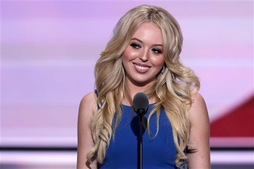 Tiffany Trump, daughter of Republican Presidential Candidate Donald Trump, speaks during the second day of the Republican National Convention in Cleveland, Tuesday, July 19, 2016. (AP Photo/J. Sco ...