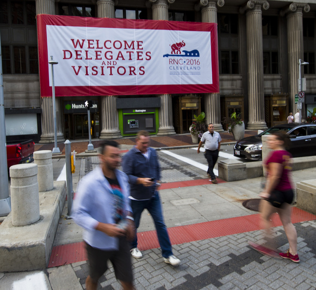 People walk along Euclid Avenue ahead of the Republican National Convention in Cleveland on Saturday, July 16, 2016. (Chase Stevens/Las Vegas Review-Journal) Follow @csstevensphoto