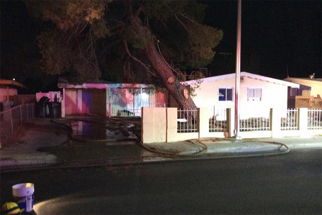 An early morning house fire in the central valley revealed a marijuana growing operation with nearly 100 plants, fire and police officials said Thursday. (Las Vegas Fire & Rescue/Facebook)