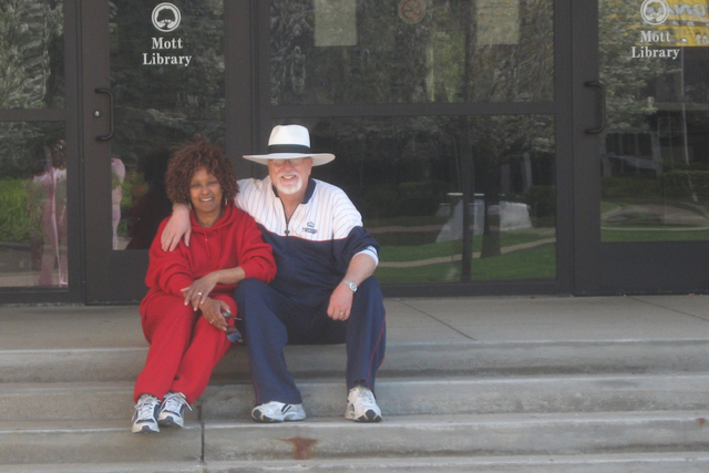 Paul and Patricia Harasim outside the college library where they first met in Flint, Michigan in 1965. (Courtesy)