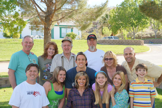 The Bellanger family is shown in this 2014 photo at Hidden Valley Ranch. Back row, from left, son-in-law Iain Finlayson, daughter Sabrina Bellanger, Harold Bellanger, son Mark Bellanger. Middle ro ...
