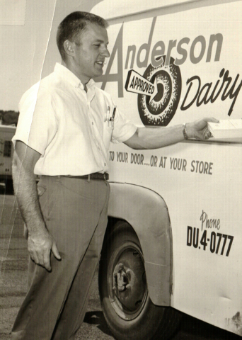 Harold Bellanger is shown at Anderson Dairy in this 1956 photo. Courtesy, Kenny Searles