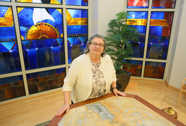 Sister Mary Kieffer, vice president of Mission Integration, poses in the chapel at St. Rose Dominican Hospital-San Martin Campus Friday, July 8, 2016, in Las Vegas. Kieffer is a former bartender.  ...