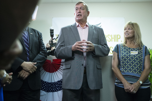 U.S. Rep. Cresent Hardy, R-Nev., left, speaks during a re-election campaign event with his wife Peri Hardy at his campaign headquarters on Saturday, June 25, 2016, in Las Vegas. (Erik Verduzco/Las ...
