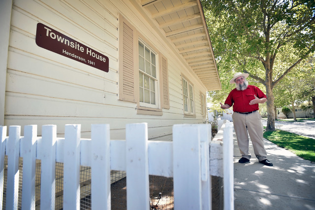 Clark County museums administrator Mark Hall-Patton walks by a 1941 Henderson Townsite home during a tour at the Clark County Museum Tuesday, July 26, 2016, in Henderson. David Becker/Las Vegas Re ...