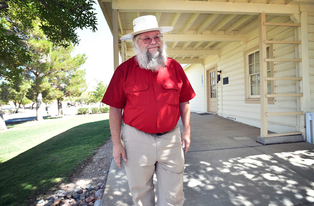 Clark County museums administrator Mark Hall-Patton stands by a 1941 Henderson Townsite home during a tour at the Clark County Museum Tuesday, July 26, 2016, in Henderson. David Becker/Las Vegas R ...