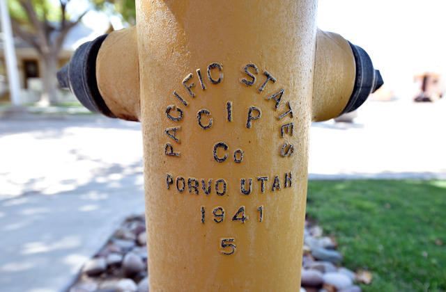 One of the original fire hydrants, including the mis-spelling of the town of Provo, Utah is seen in front of the 1941 Henderson Townsite home at the Clark County Museum Tuesday, July 26, 2016, in  ...