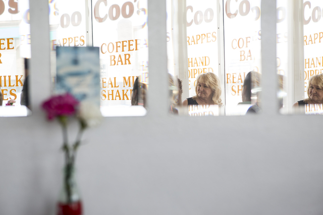 Denell Hahn, director for the Henderson Historical Society, participates during an interview about the historical society at Coo Coo's Gourmet Coffee Cafe on Wednesday, July 27, 2016, in Henderson ...