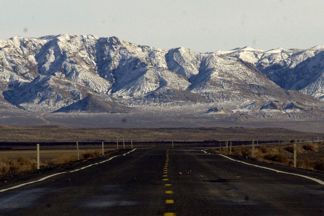 A stretch of U. S. Highway 50 near Fallon, Nev., is shown in this Friday, Jan. 26, 2001, photo. (AP Photo/Bob Galbraith)