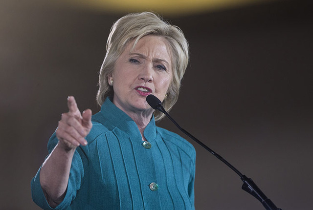 Hillary Clinton speaks at the Culinary Academy of Las Vegas for a campaign rally on Tuesday, July 19, 2016, in North Las Vegas. (Erik Verduzco/Las Vegas Review-Journal Follow @Erik_Verduzco)
