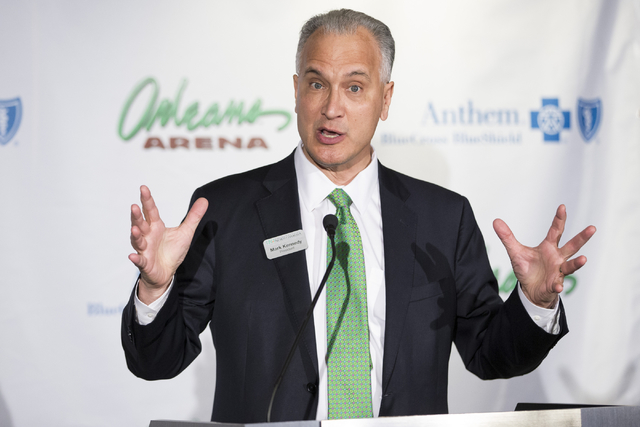 Mark Kennedy, president of the University of North Dakota, speaks during a press conference to announce the 2018 U.S. Hockey Hall of Fame Game in Las Vegas at the Orleans Arena on Wednesday, July  ...
