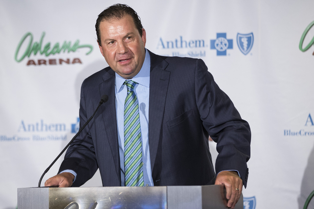 Brad Berry, head coach for the University of North Dakota hockey team, speaks during a press conference to announce the 2018 U.S. Hockey Hall of Fame Game in Las Vegas at the Orleans Arena on Wedn ...