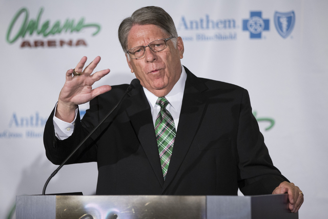 Brian Faison, athletics director for the University of North Dakota, speaks during a press conference to announce the 2018 U.S. Hockey Hall of Fame Game in Las Vegas at the Orleans Arena on Wednes ...