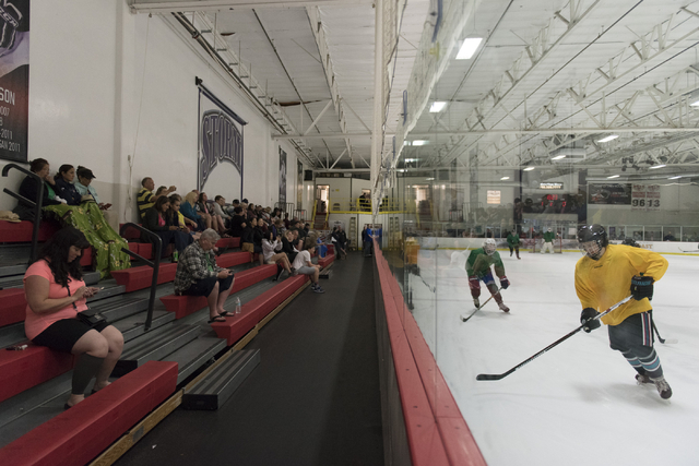 An audience watches youth teams play hockey at Las Vegas Ice Center in Las Vegas Wednesday, June 22, 2016. (Jason Ogulnik/Las Vegas Review-Journal)