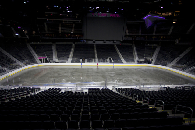 T-Mobile Area is shown after the first layer of black ice is sprayed for the NHL rink in Las Vegas on Saturday, June 30, 2016. (Loren Townsley/Las Vegas Review-Journal) Follow @lorentownsley