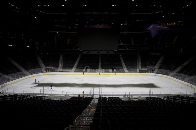 T-Mobile Area is shown while the white ice is sprayed for the NHL rink in Las Vegas on Saturday, June 30, 2016. (Loren Townsley/Las Vegas Review-Journal) Follow @lorentownsley