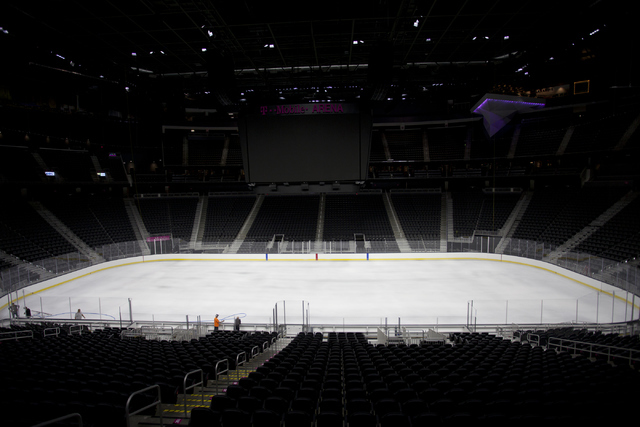 T-Mobile Area is shown after the white ice is sprayed for the NHL rink in Las Vegas on Saturday, June 30, 2016.(Loren Townsley/Las Vegas Review-Journal) Follow @lorentownsley