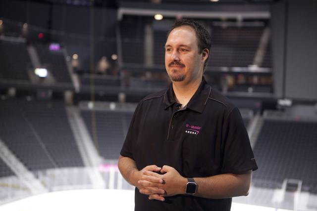 Dan Quinn, vice president and general manager of T-Mobile Area, speaks to the media about the installation of the ice surface for the NHL rink on Saturday, June 30, 2016, at the T-Mobile Arena in  ...