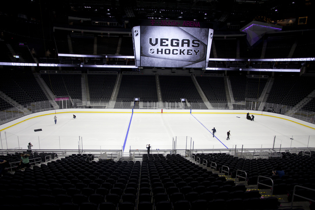 T-Mobile Area is shown while the ice installers paint onto the NHL rink in Las Vegas on Saturday, June 30, 2016. (Loren Townsley/Las Vegas Review-Journal) Follow @lorentownsley