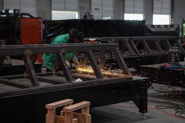 Engineers and welders at Hyperloop One Metalworks, a tooling and fabrication plant in North Las Vegas will build and test parts of DevLoop, the first prototype of a transportation system that prom ...