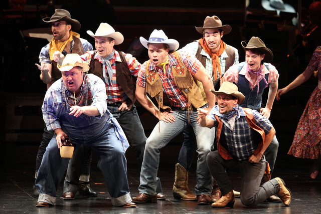 "Whip Masters (Nathaniel Hackmann), center, joins fellow performers for the opening number, ""Heck It's A Helluva Day"" during the new musical ""Idaho!"" at The Smith Center. Loren Townsley/Las Vegas R ..."