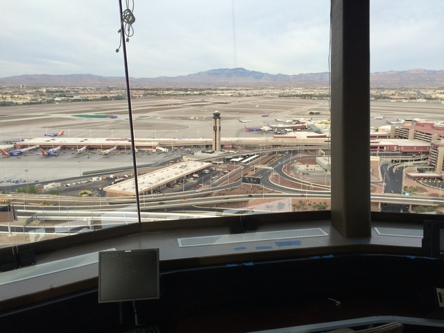Terminal one and runways 7L and 7R are seen from the new air traffic control tower at McCarran International Airport. Courtesy of the Federal Aviation Administration