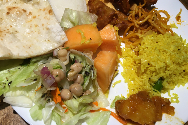 A plate filled with buffet lunch items is seen at Mint Indian Bistro, 730 E. Flamingo Road, Suite 10, June 3. (Sandy Lopez/View)