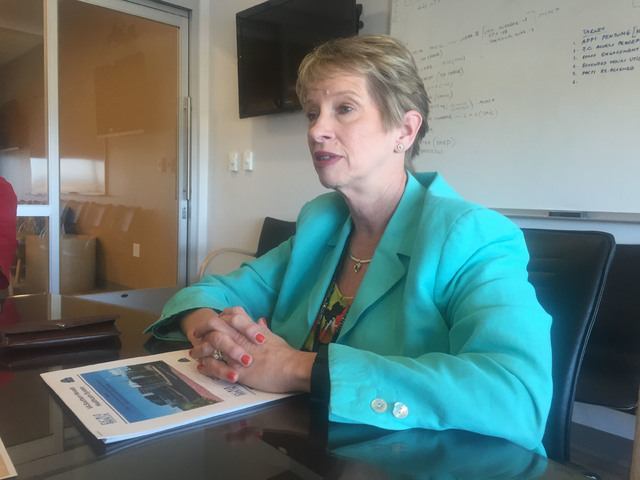Veterans Affairs Southern Nevada Healthcare System Director Peggy Kearns talks about the system's enrollment growth during a roundtable discussion Wednesday, July 13, 2016, at the North Las Vegas  ...