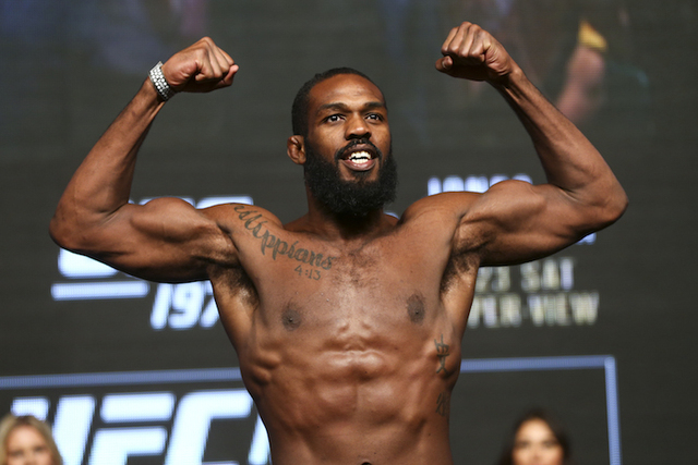 UFC fighter Jon Jones poses during weigh ins ahead of his UFC 197 light heavyweight fight against Ovince Saint Preux at the MGM Grand hotel-casino in Las Vegas on Friday, April 22, 2016. (Chase St ...