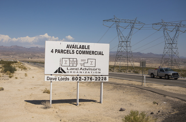 Parcels of available land at Bruce Woodbury Drive and Needles Highway across the street from the site of the former Mojave Power Station is seen Thursday, July 28, 2016 in Laughlin, Nev. Jeff Sche ...