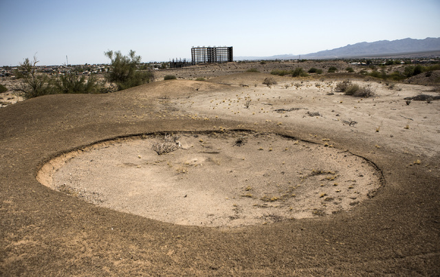 A sand trap from closed golf course near an abandon resort development is seen Thursday, July 28, 2016, on the southern end of Laughlin, Nev. Jeff Scheid/Las Vegas Review-Journal Follow @jeffscheid