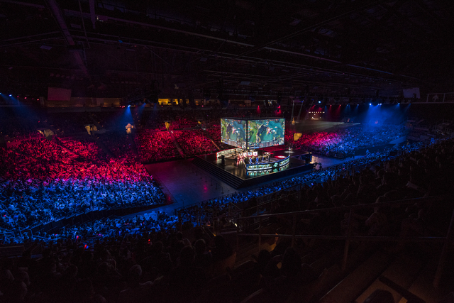 The arena is shown as Counter Logic Gaming battles against TSM during the North America League of Legends Championship Series Spring Final at the Mandalay Bay Event Center in Las Vegas on Sunday,  ...