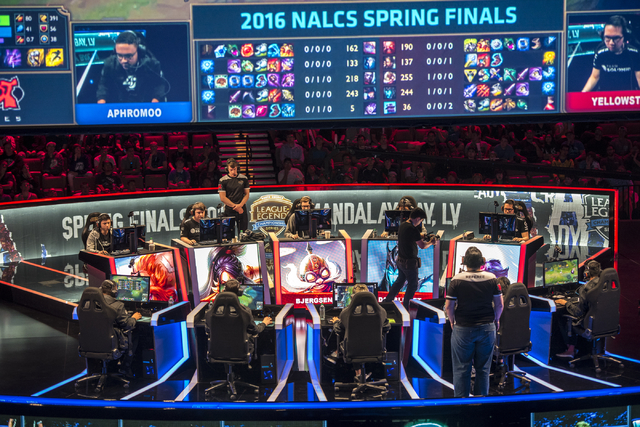 TSM battles against Counter Logic Gaming during the North America League of Legends Championship Series Spring Final at the Mandalay Bay Event Center in Las Vegas on Sunday, April 17, 2016. Counte ...