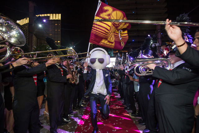 The UNLV marching band performs at Marquee nightclub in The Cosmopolitan on Monday for LeBron James' NBA championship celebration. (Tony Tran Photography)